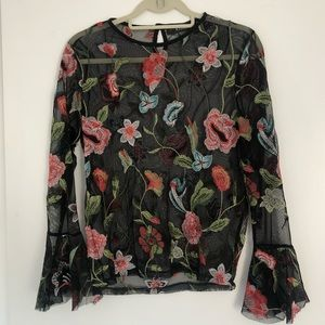 embroidered mesh floral top